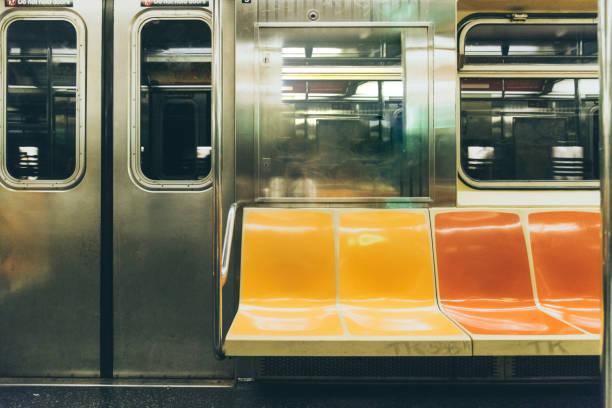 Empty Subway Train in New York stock photo