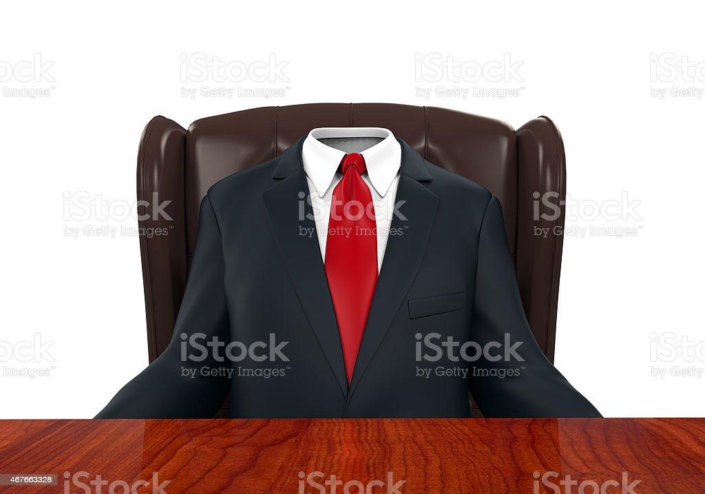 Empty Suit Figure Sitting stock photo