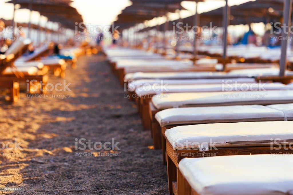 Leere liegen in einer Reihe auf dem sand beach – Foto