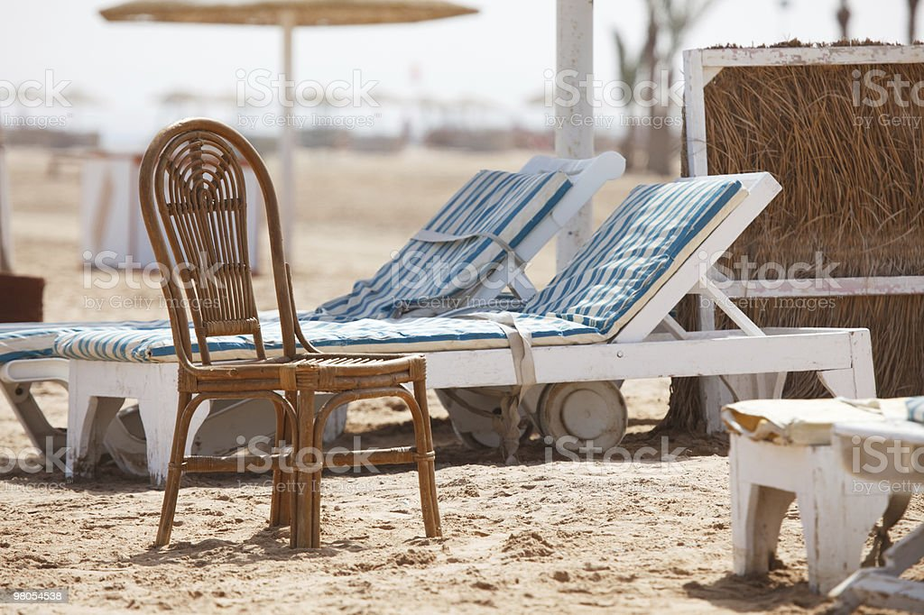 Empty sunbeds royalty-free stock photo