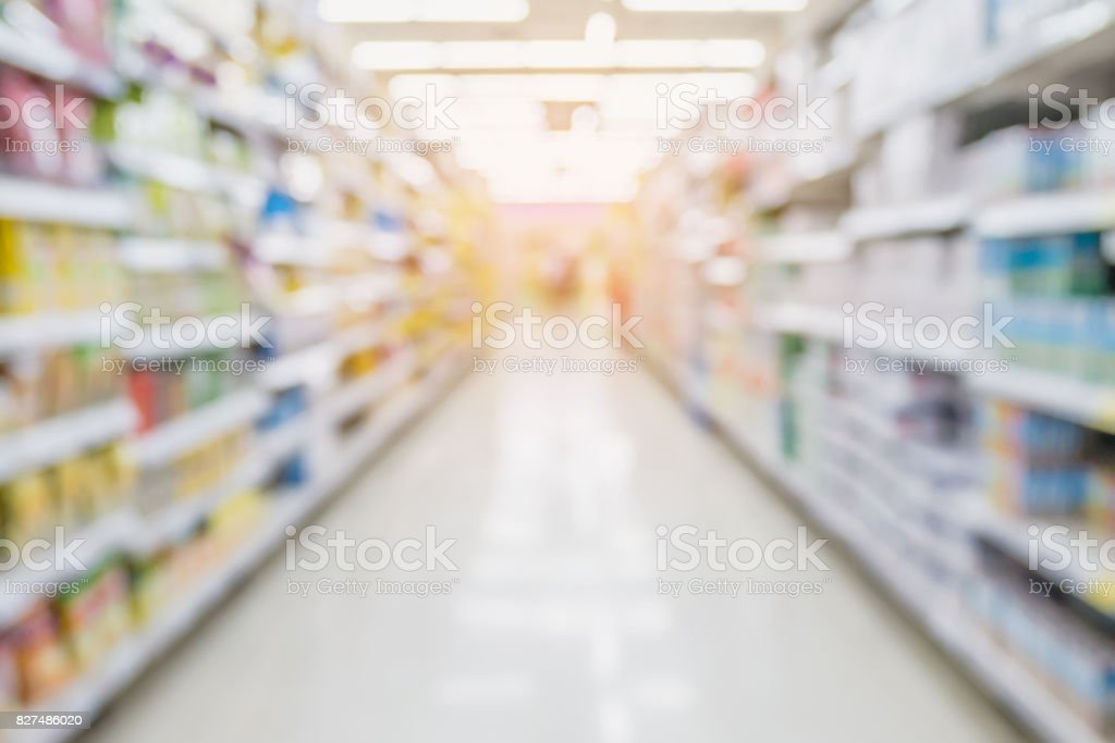 Empty Supermarket Aisle and Shelves in blur background stock photo