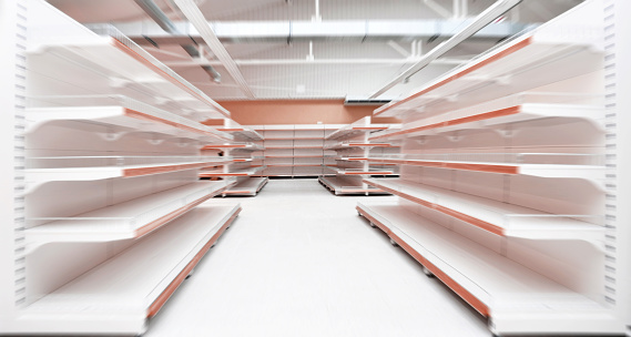 Empty Supermarket Aisle Stock Photo - Download Image Now