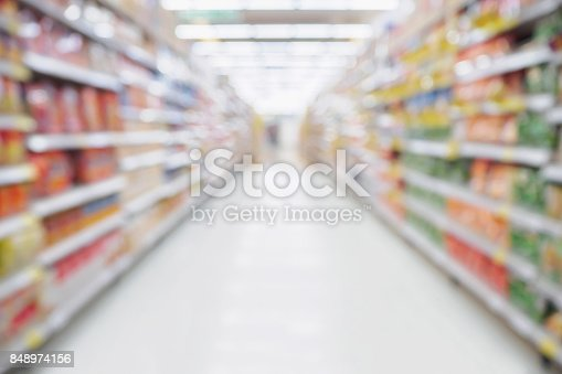 836871040 istock photo Empty Supermarket aisle shelves abstract blur defocused business background 848974156