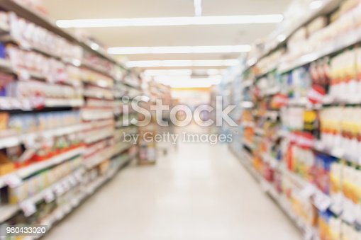 922721264 istock photo Empty supermarket aisle with product on shelves blurred background 980433020