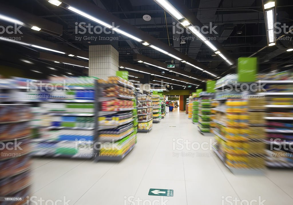 Empty supermarket aisle with surrounding blurred effect stock photo