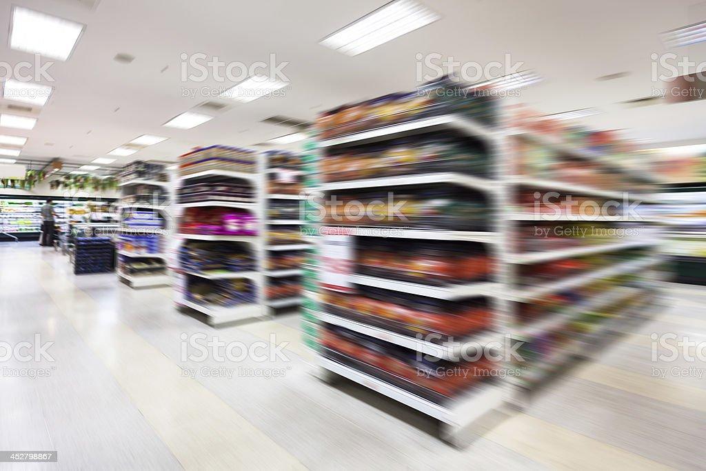 Empty supermarket aisle,motion blur stock photo