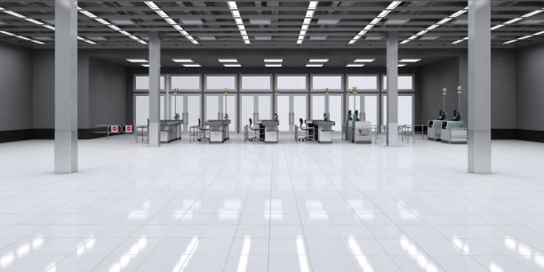 Empty supermarket hall with cash area. stock photo