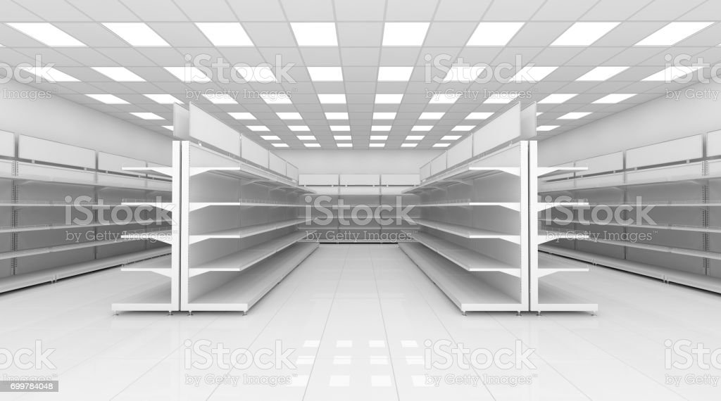 Empty supermarket shelf stock photo