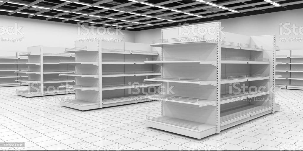 Empty supermarket shelf stock photo