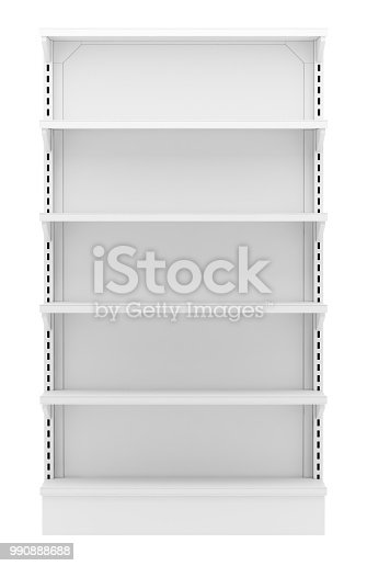empty supermarket shelves isolated on white background