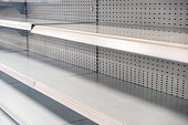 Supermarket shelves without any stock.