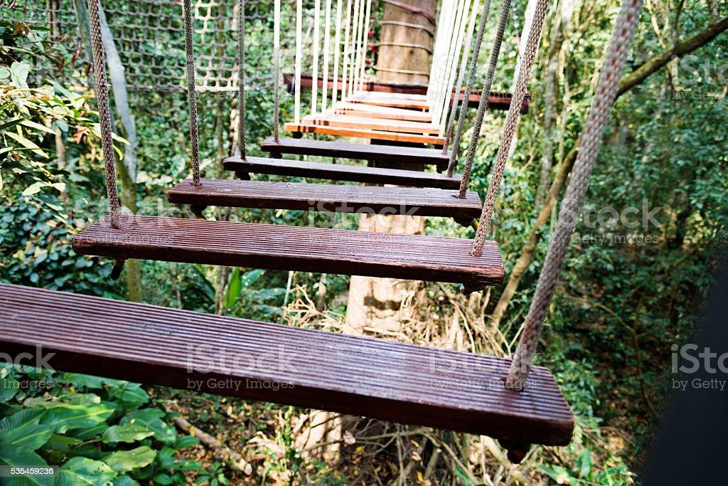 Empty suspension bridge in the forest stock photo