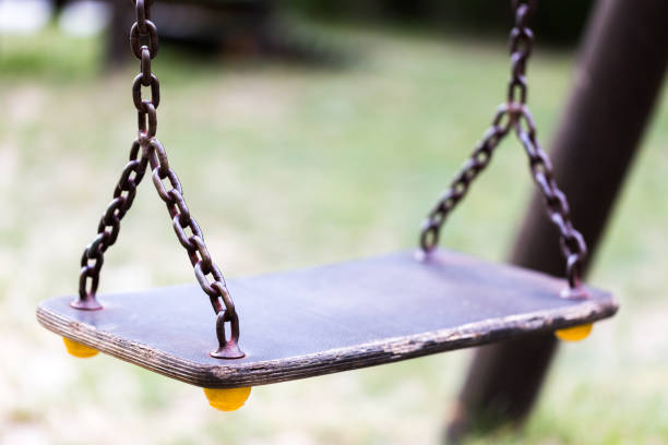 Empty swing close up stock photo