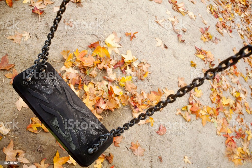 Empty swing, leaves covered autumn ground. stock photo