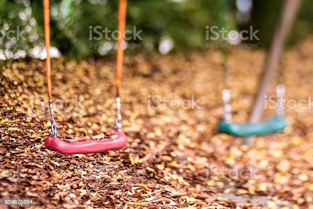 Photo of Empty swing with leaves in the autumn season