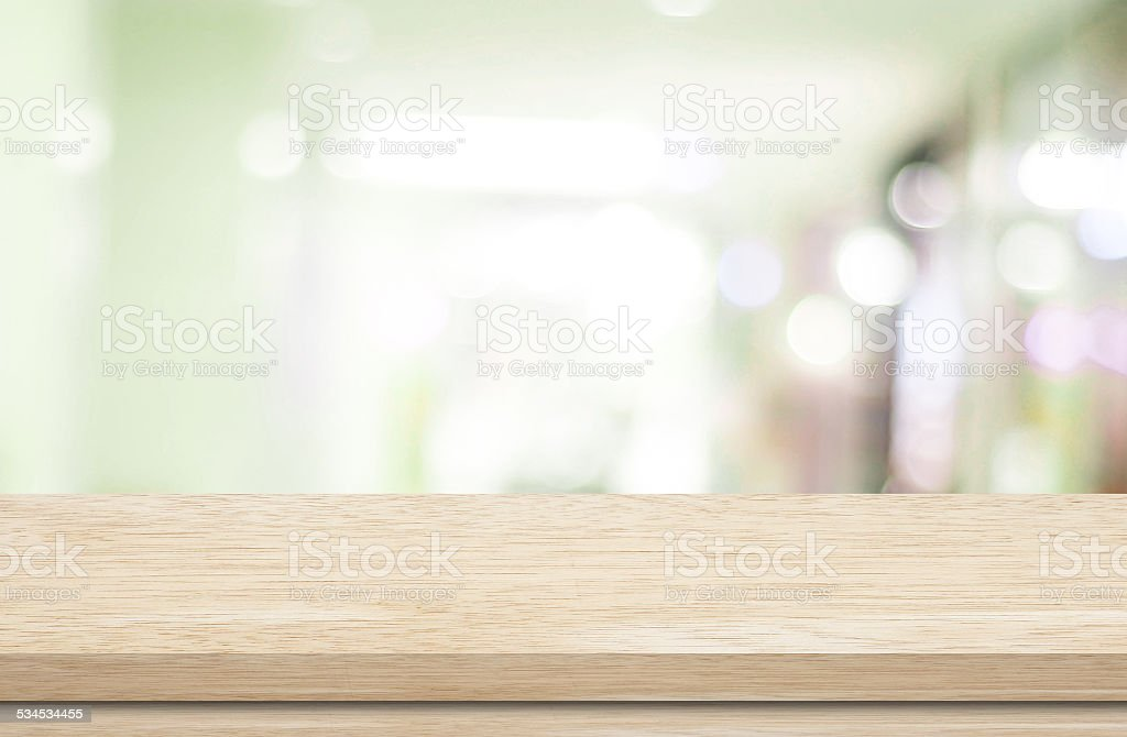 Empty table and blurred store bokeh background royalty-free stock photo
