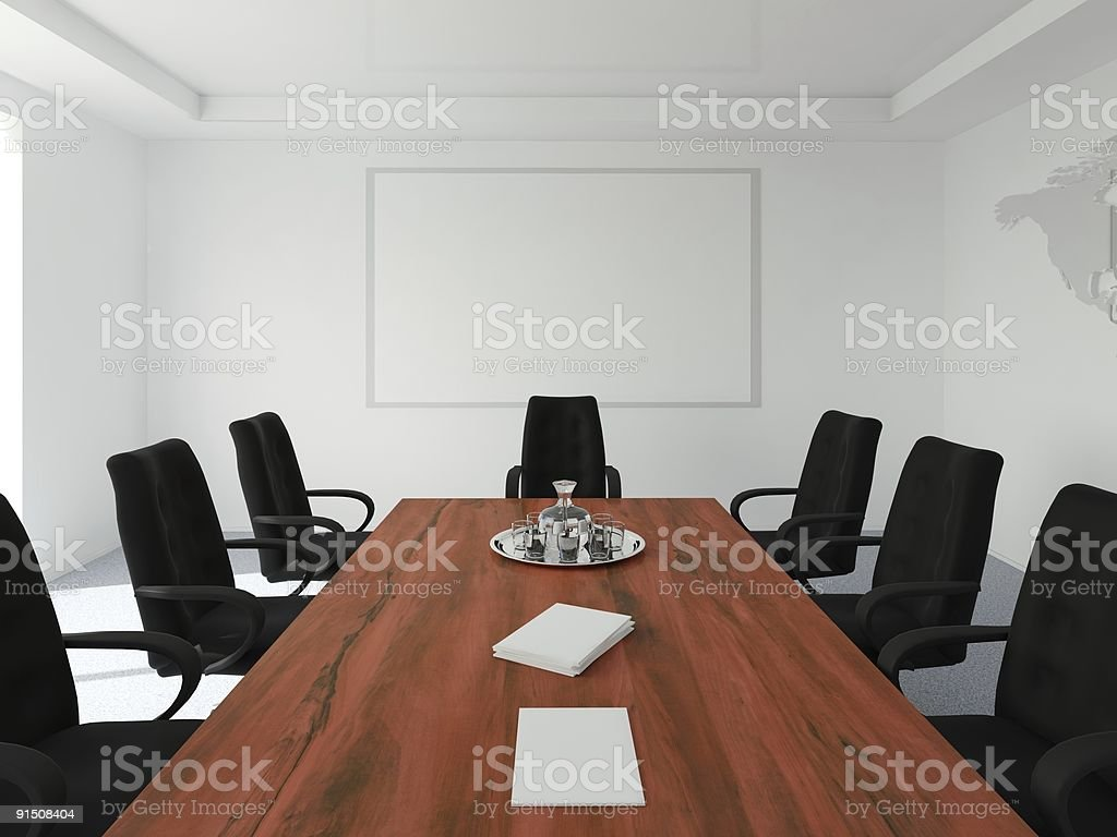 Empty Table And Chairs In A Conference Room With White Board Stock Photo -  Download Image Now