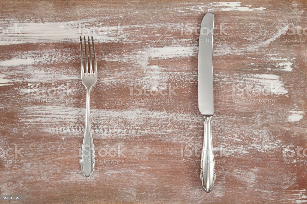 empty table and silverware stock photo