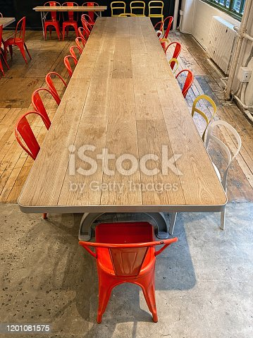Empty dining table with perspective