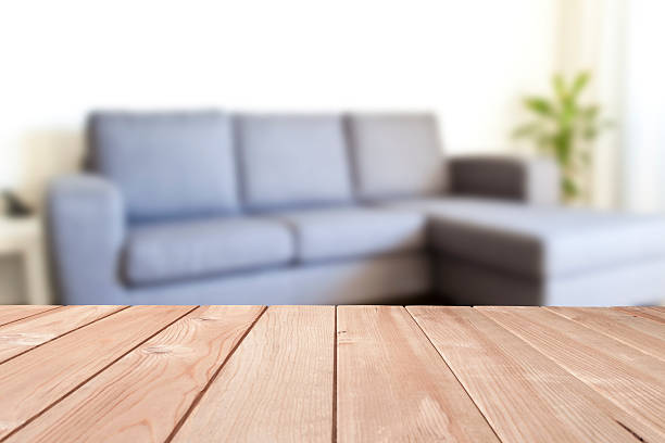 empty table in a modern living room - coffee table imagens e fotografias de stock