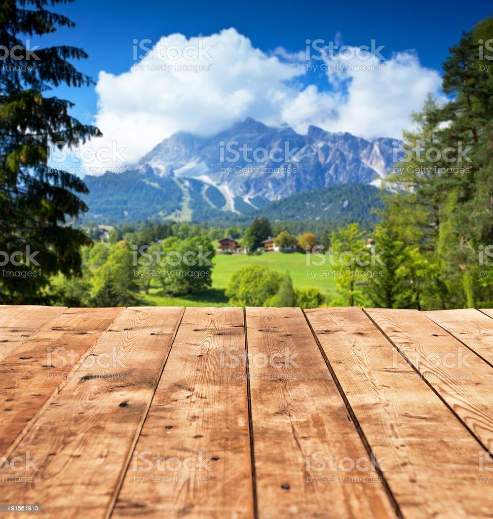Empty table in Italian Alps stock photo