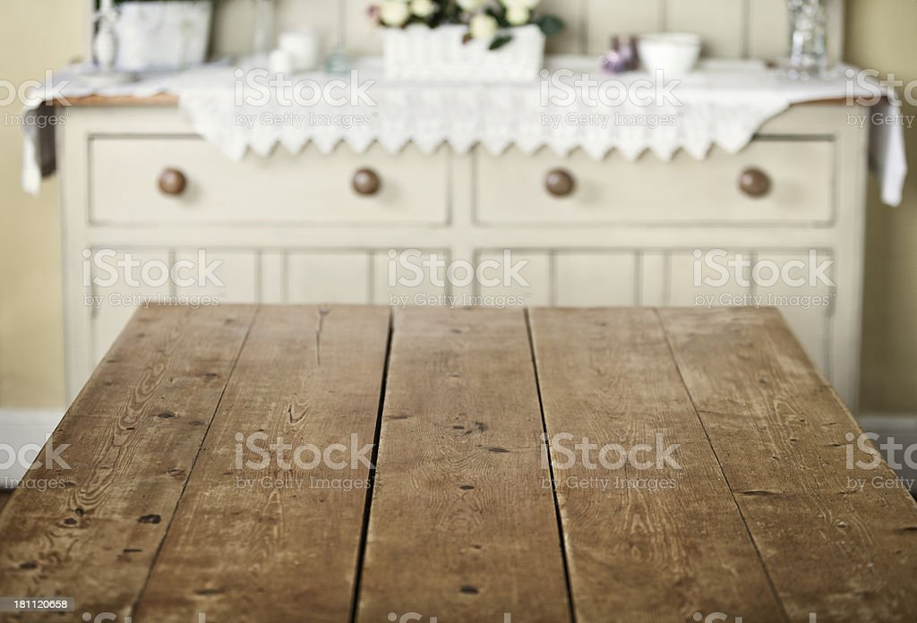 Empty table in kitchen breakfast room stock photo