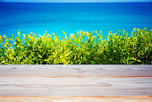 istock empty table on the beautiful beach background 1062914304