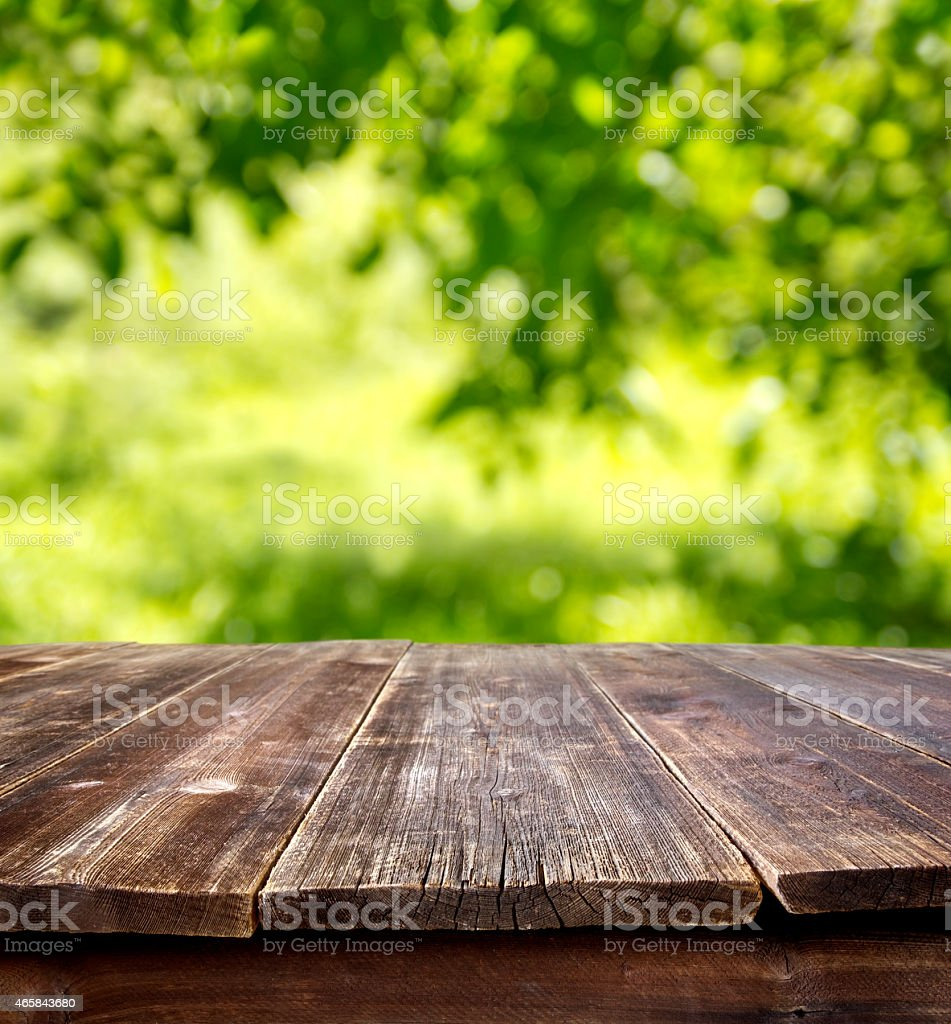 empty table outdoors stock photo