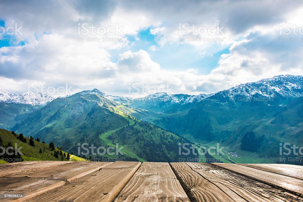 empty table with mountain view stock photo