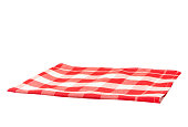 Empty tablecloth red white checkered isolated on white background.