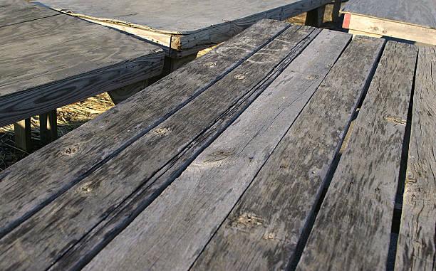 empty tables at flea market stock photo