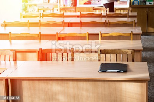 881192038 istock photo Empty tables in the classroom 931140168