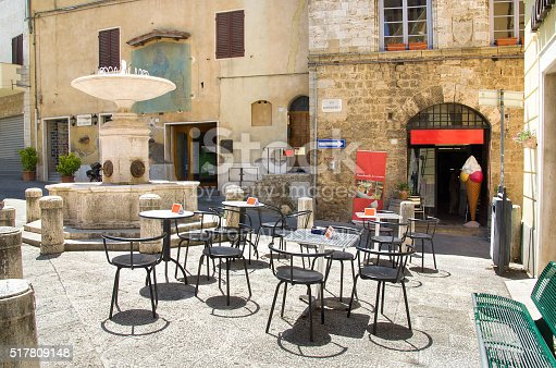 istock empty tables meeting point little square fountain bar gelateria 517809148