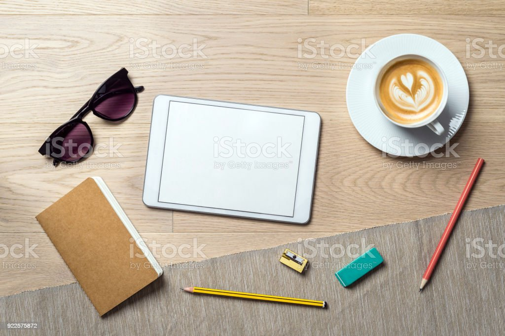 Empty tablet with copy space as flat lay and template stock photo