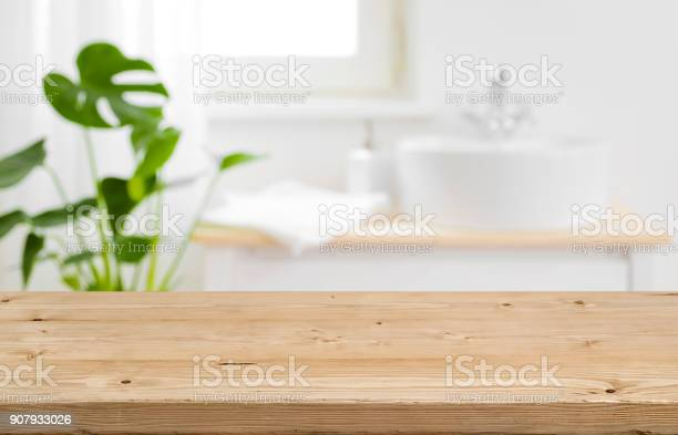 Empty Tabletop For Product Display With Blurred Bathroom Interior Background - Fotografias de stock e mais imagens de Artigo de Decoração