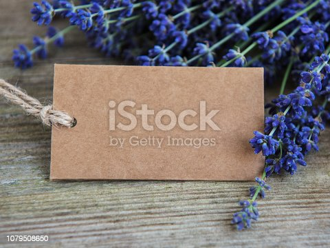 istock Empty tag and lavender flowers 1079508650