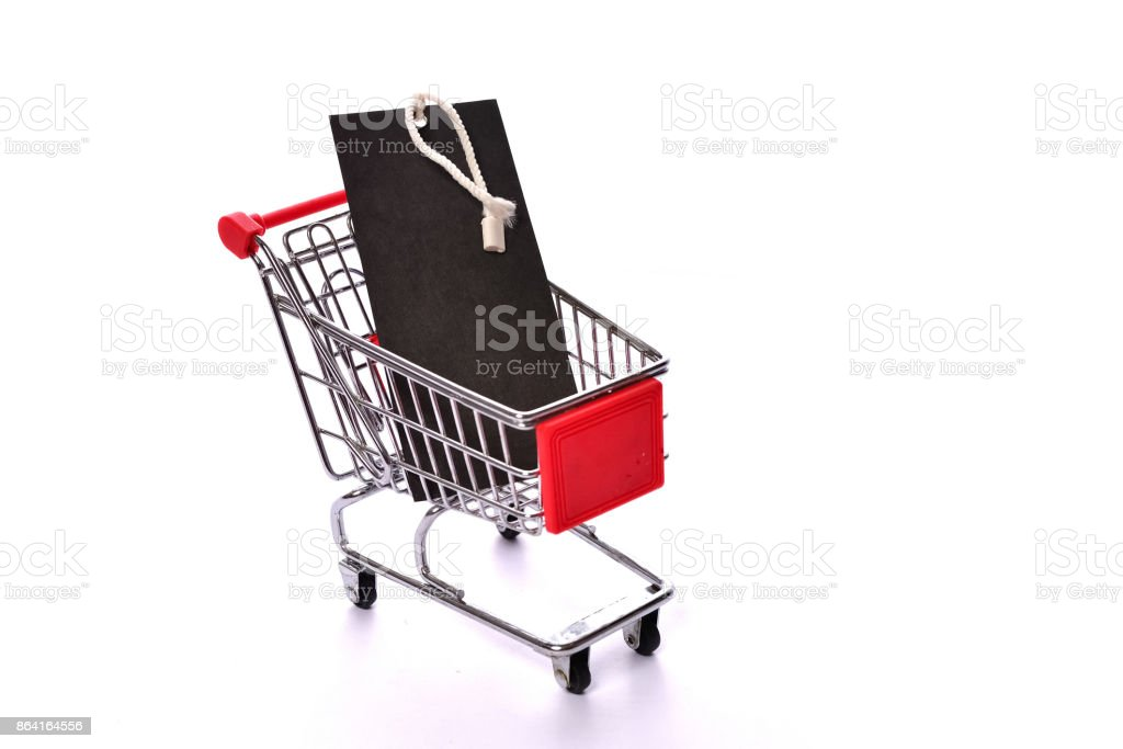 Empty tag on shopping cart royalty-free stock photo