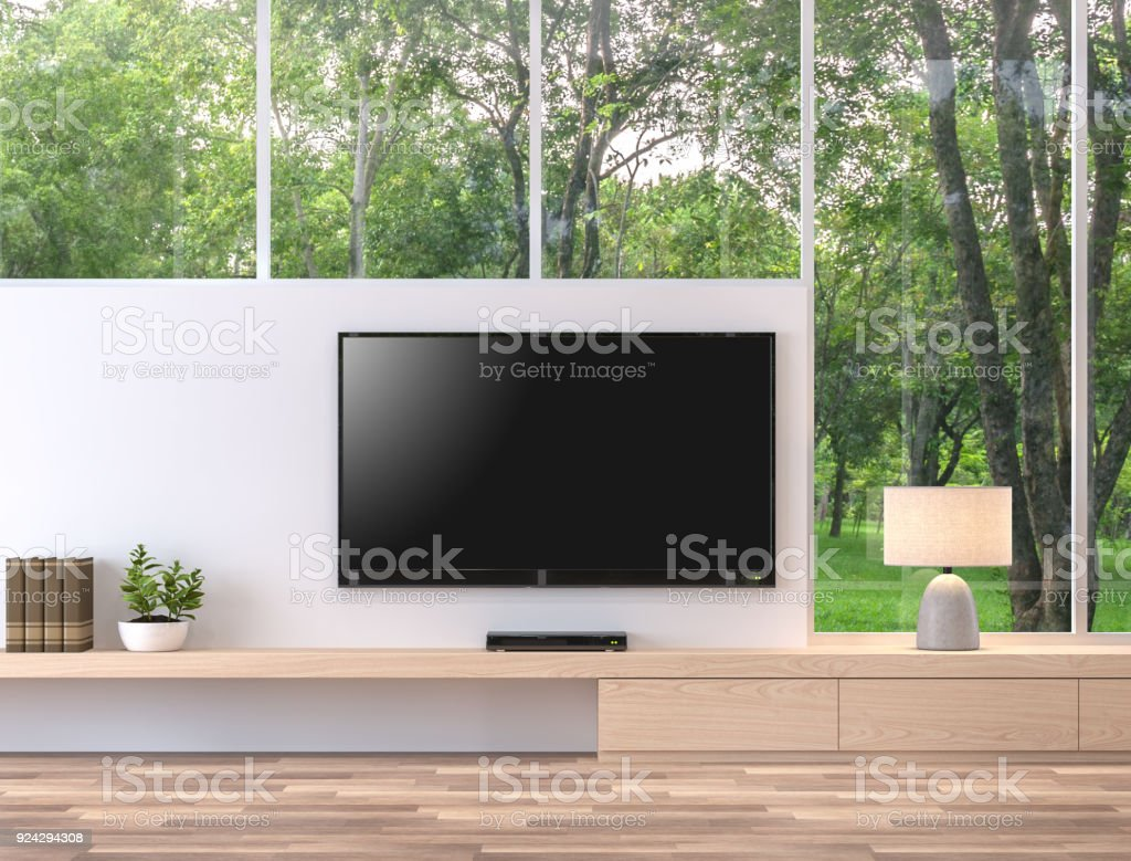 Empty television screen with nature view 3d render. stock photo