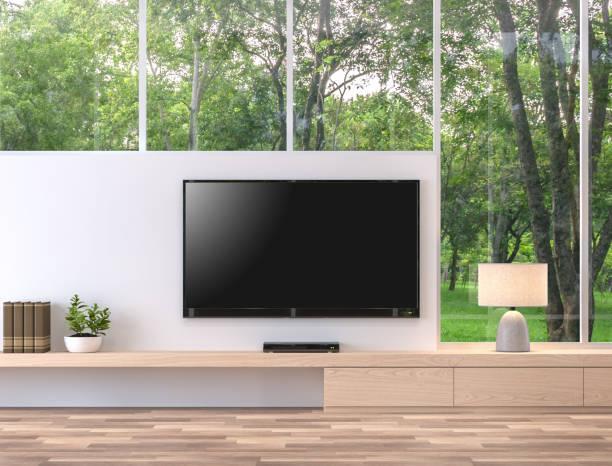 leere fernsehbildschirm mit natur ansicht 3d render. - zimmer bildschirm stock-fotos und bilder