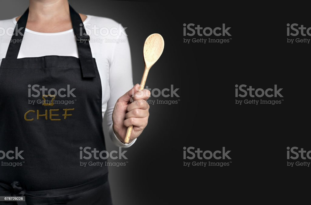 empty template cook holding wooden spoon background concept - foto de stock