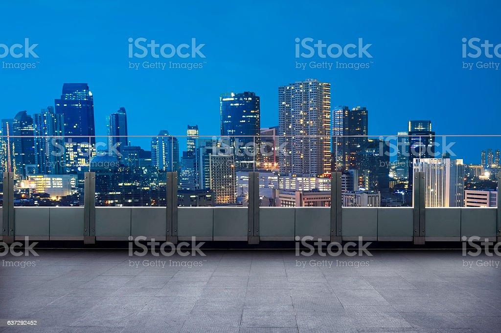 Empty terrace with cityscape and skyscraper stock photo