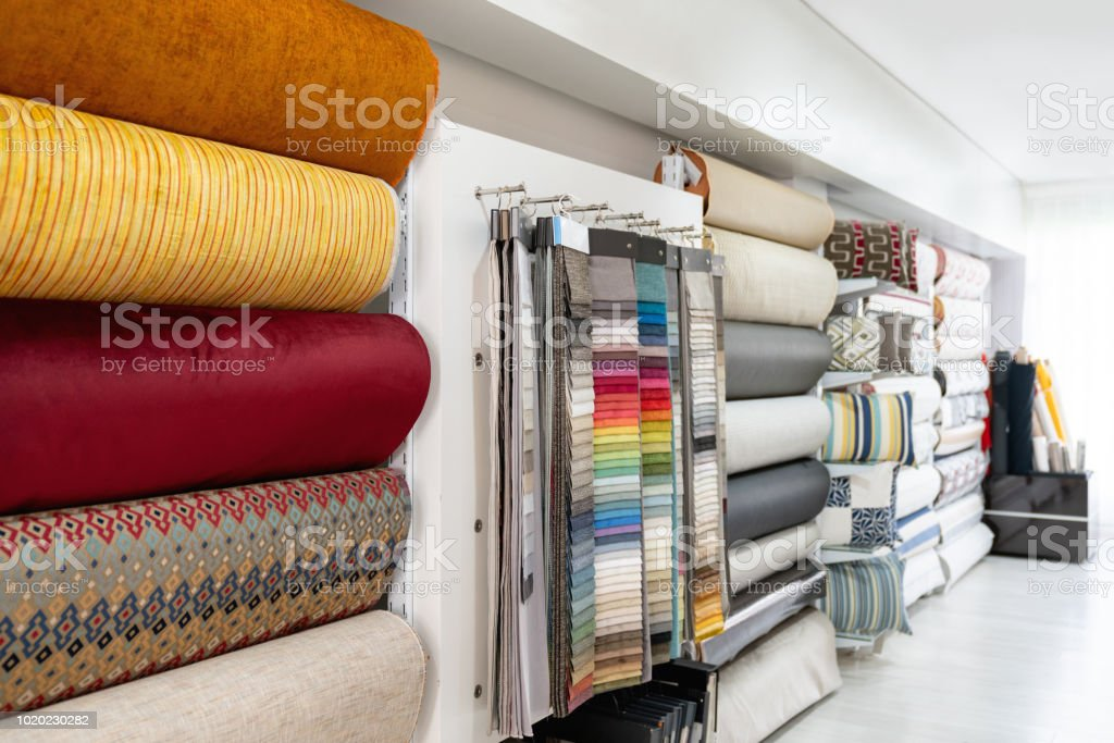 Empty Textile Shop Displaying Beautiful Fabrics Stock Photo Download Image Now Istock