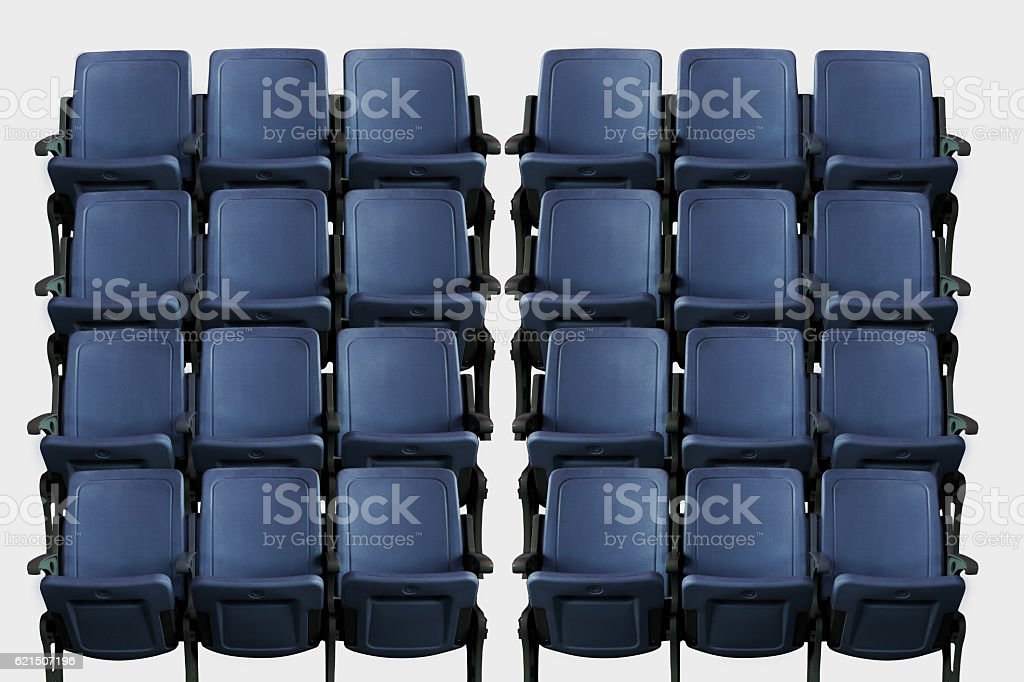 Empty theater auditorium or cinema with blue seats foto stock royalty-free