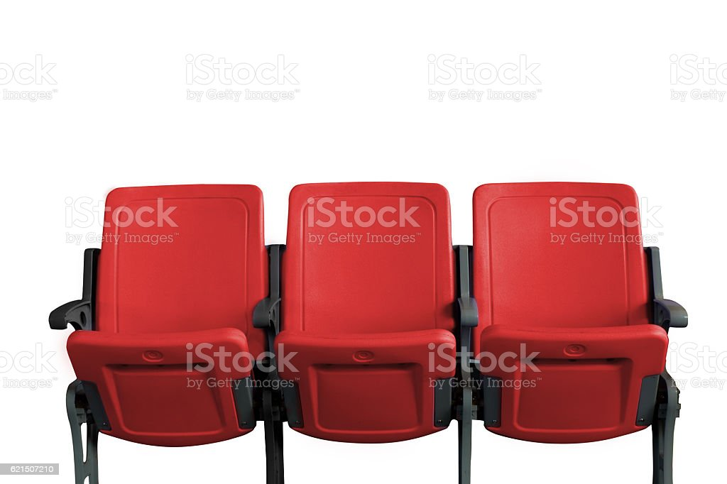 Empty theater auditorium or cinema with three red seats Lizenzfreies stock-foto