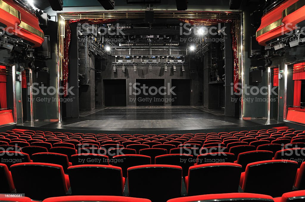 Empty theater from the view of the back row stock photo