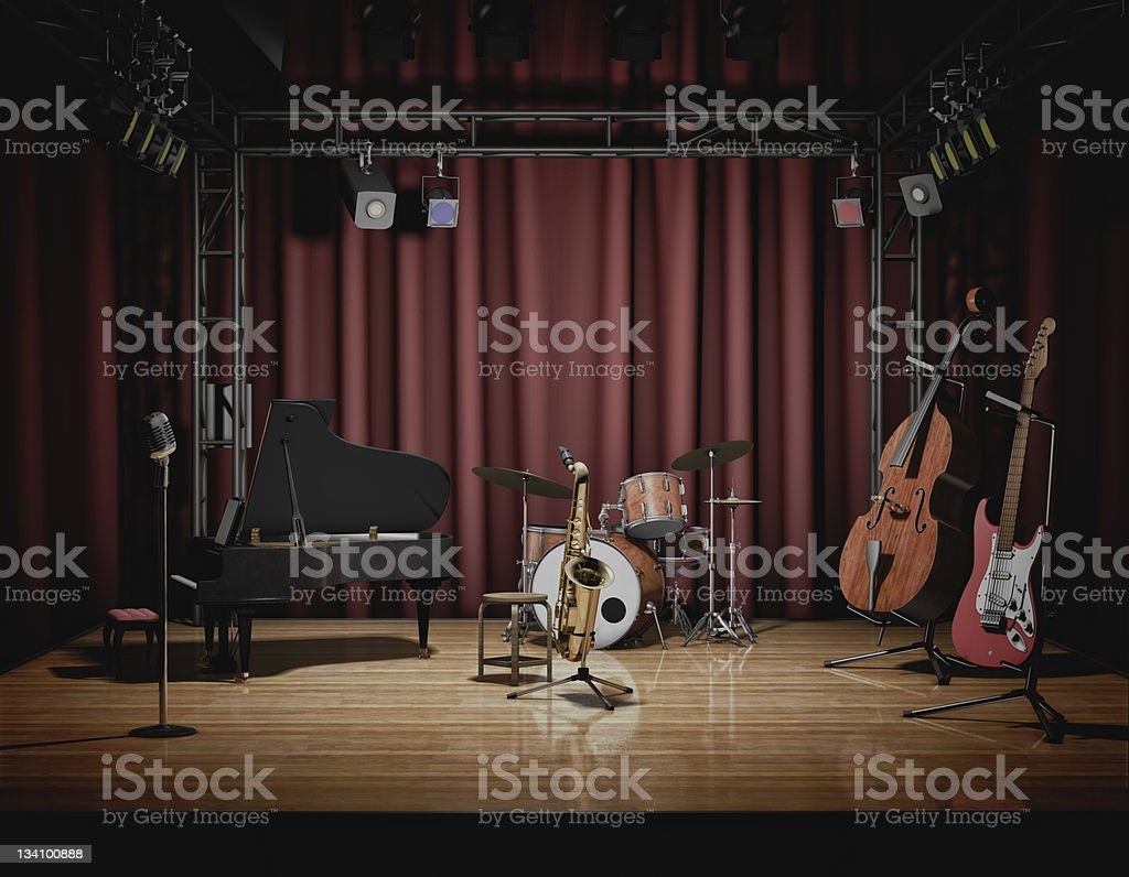 Empty theater stage before a jazz concert stock photo