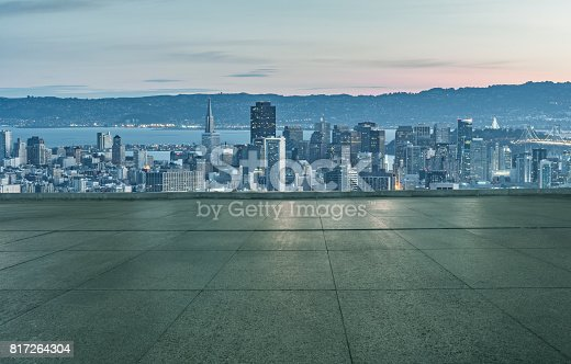 istock empty tiled floor front of san francisco downtown skyline 817264304
