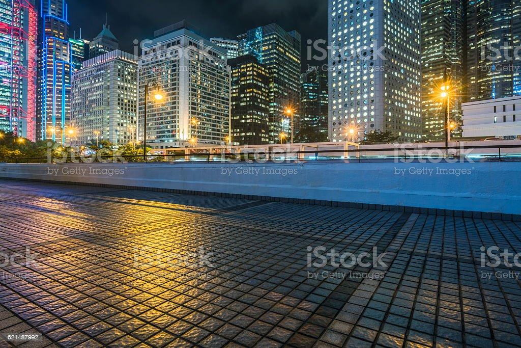 empty tiled floor with cityscape of Hong Kong background Lizenzfreies stock-foto