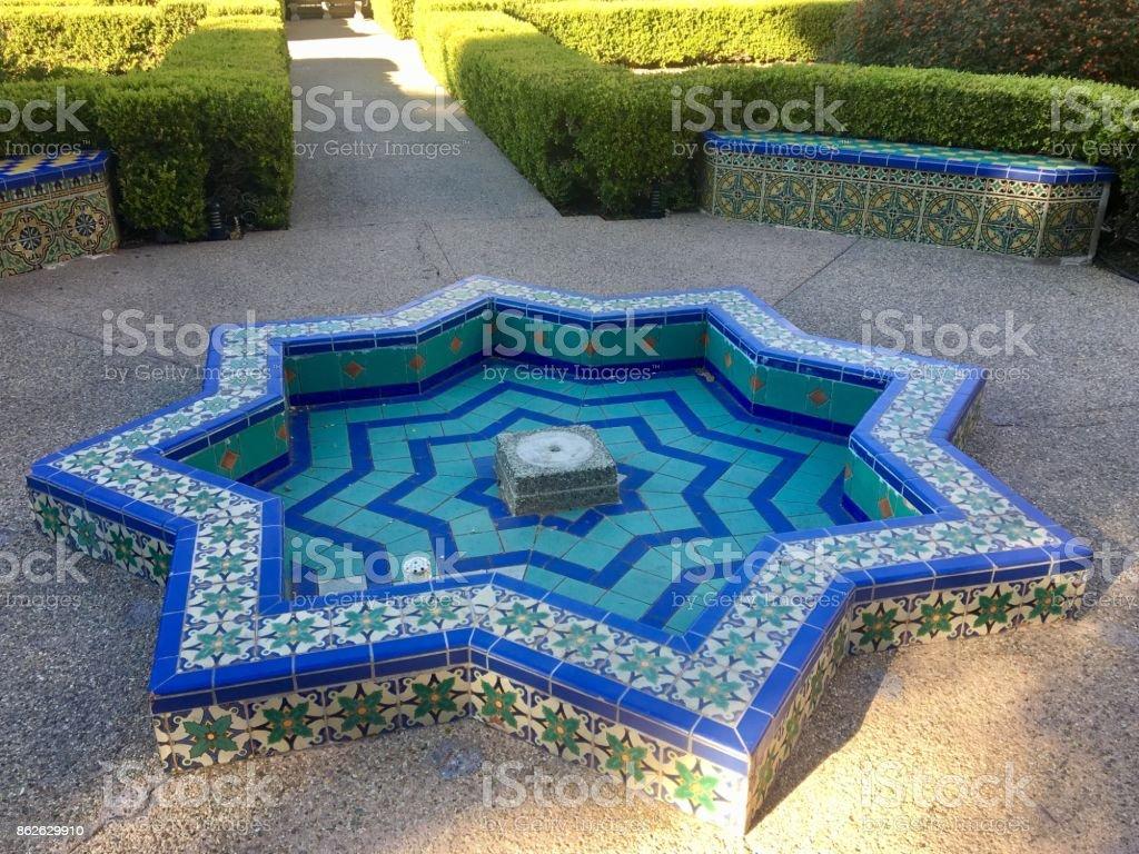 Empty Tiled Fountain stock photo