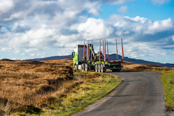Empty timber lorry on a rural road in Dumfries and Galloway south west Scotland stock photo